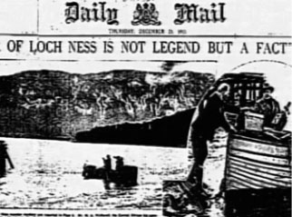 Newspaper clippings of Loch Ness Monster