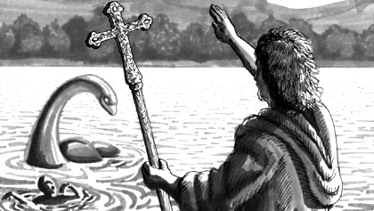 Saint Columba Commands the Loch Ness monster to go back with all speed.
